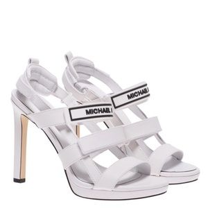 Michael Kors White Black Spell Out Strappy Heels 9